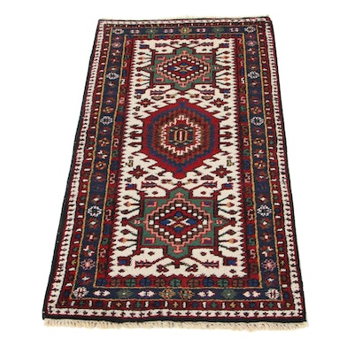 2'5 x 4'8 Hand-Knotted Indo-Persian Karaja Accent Rug, 1990s