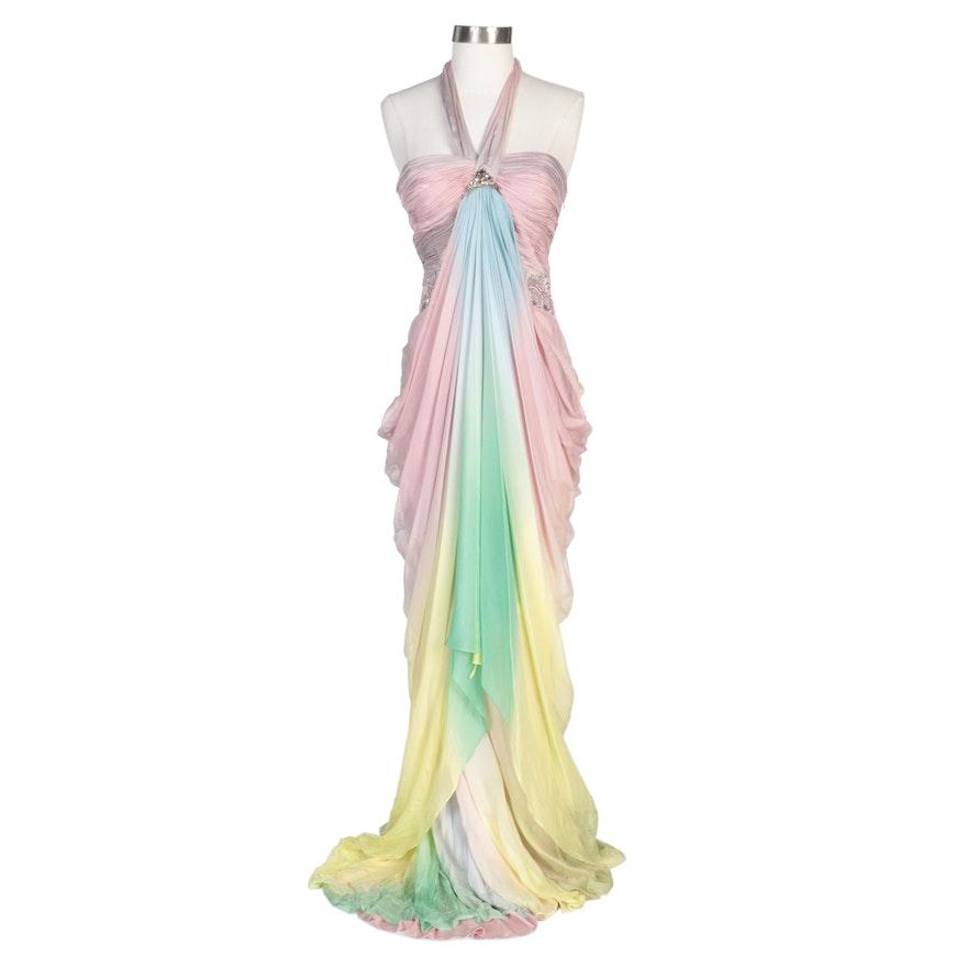Alberto Makali Pink and Blue Ombré Embellished Halter Dress with Wrap