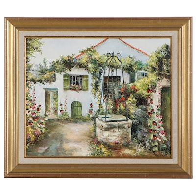Oil Painting of a Cottage Garden, 21st Century