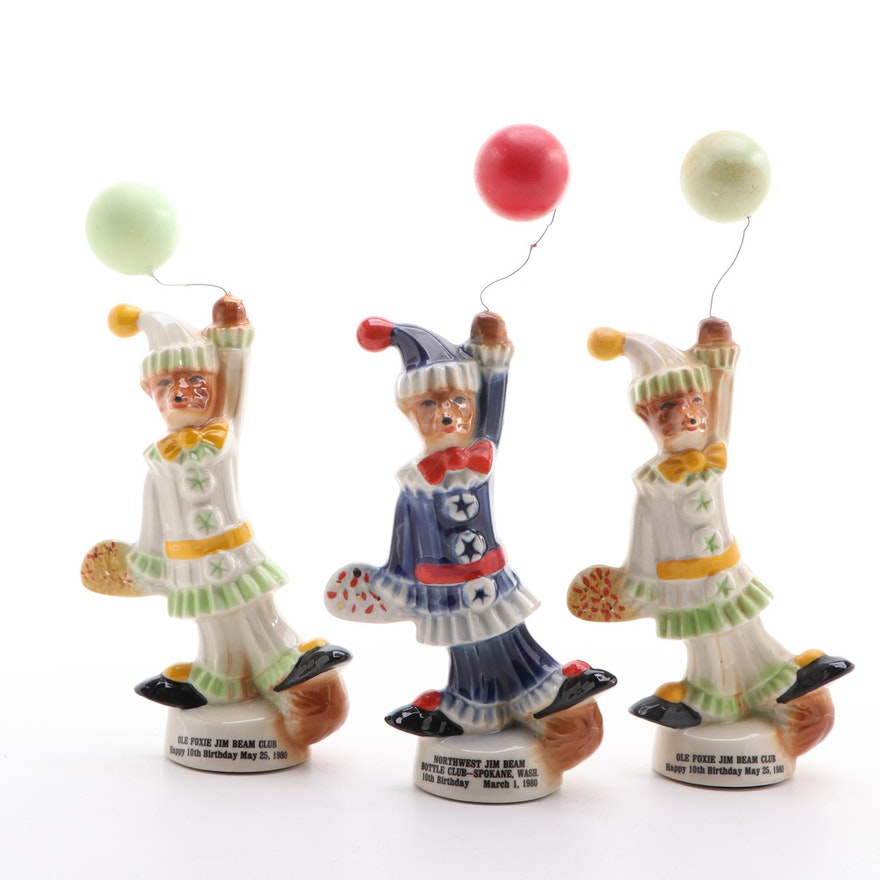 Ceramic Jim Beam Bottle Club Birthday Fox Figurines