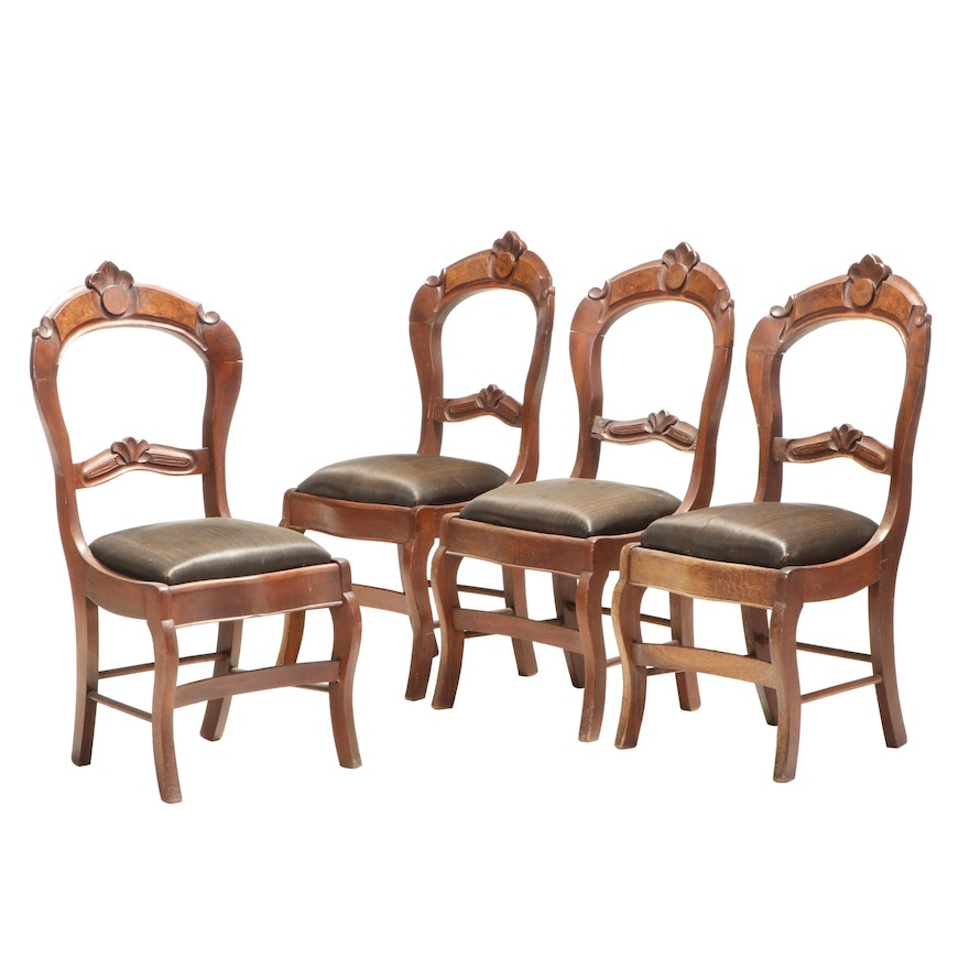 Four Renaissance Revival Walnut Side Chairs, Late 19th Century