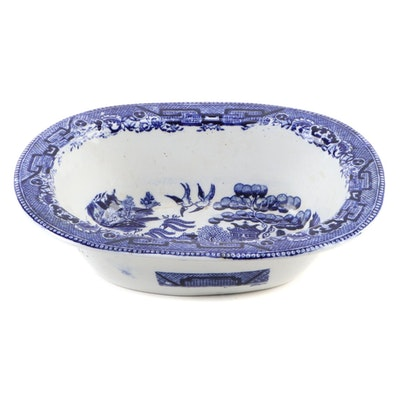 English Blue Willow Transferware Oval Serving Bowl, Late 19th/ Early 20th C.