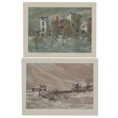 """Robert Fabe Offset Lithographs featuring """"December Day,"""" Late 20th Century"""