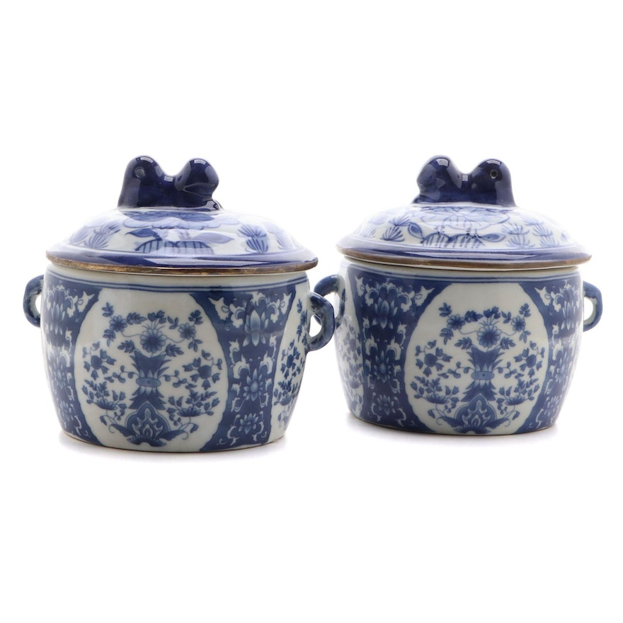 Chinese Blue and White Porcelain Lidded Jars, Late 20th Century