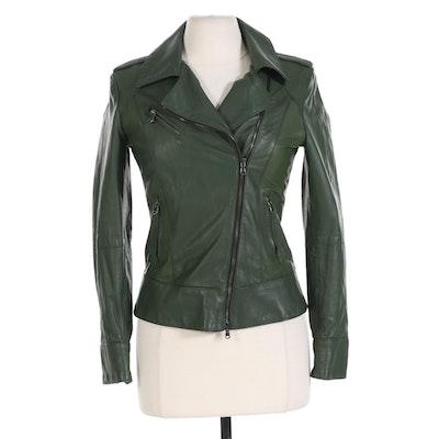 Vera Pelle Italian Zippered Moto Jacket in Green Leather