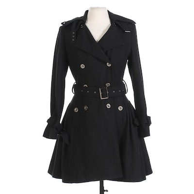 Marc Jacobs Double Breasted Belted Wool Coat with Pleated Skirt Back