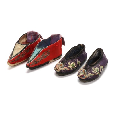 Children's Handmade Chinese Embroidered Silk Slippers and Lotus Slippers
