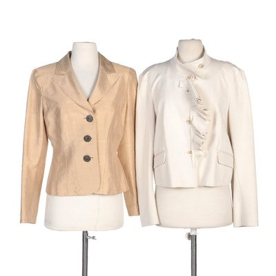 Kay Unger Soft Gold Silk Blazer and Piazza Sempione Ruffle Placket Jacket