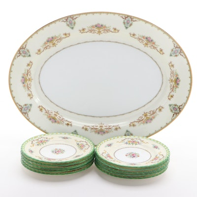"Mintons ""Lady Hamilton"" Bread and Butter Plates and Noritake ""Arabella"" Platter"