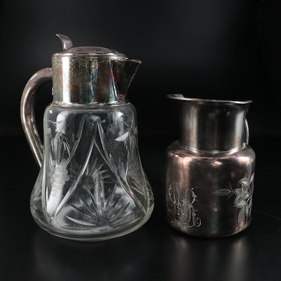 Barbour Silver Co. Silver Plate Pitcher and Other West German Glass Pitcher