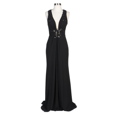 Alberto Makali Black Embellished and Sequined Evening Dress with Silver Shrug