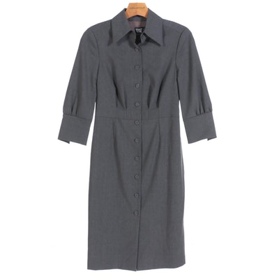 Worth Shirt Dress in Grey Wool Blend