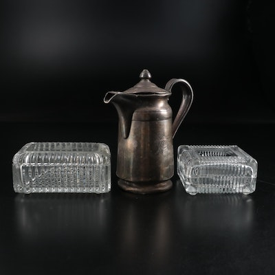 Reed & Barton Detroit Yacht Club Silver Plate Pitcher and Glass Boxes