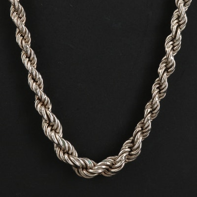 Sterling Silver Graduated Rope Chain Necklace