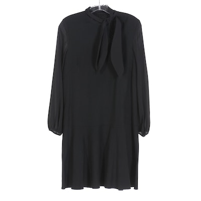 Les Copains Tie-Neck Long Sleeve Dress in Black Wool Blend