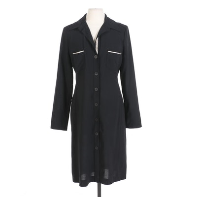 Zenobia Shirt Dress in Black Wool