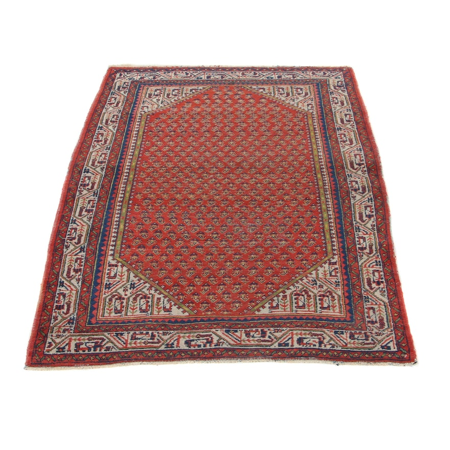 3'7 x 5' Hand-Knotted Persian Sarouk Mir Area Rug, 1970s