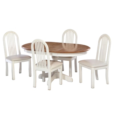 Canadel Round Expandable Dining Table with Four Chairs, Early 21st Century