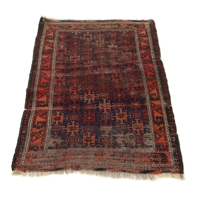 2'8 x 3'10 Hand-Knotted Persian Baluch Accent Rug, 1910s