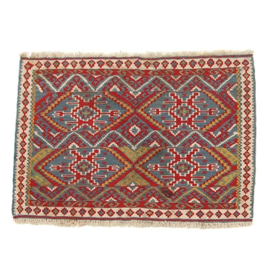 2'4 x 3'2 Handwoven Turkish Village Kilim Accent Rug, 1980s
