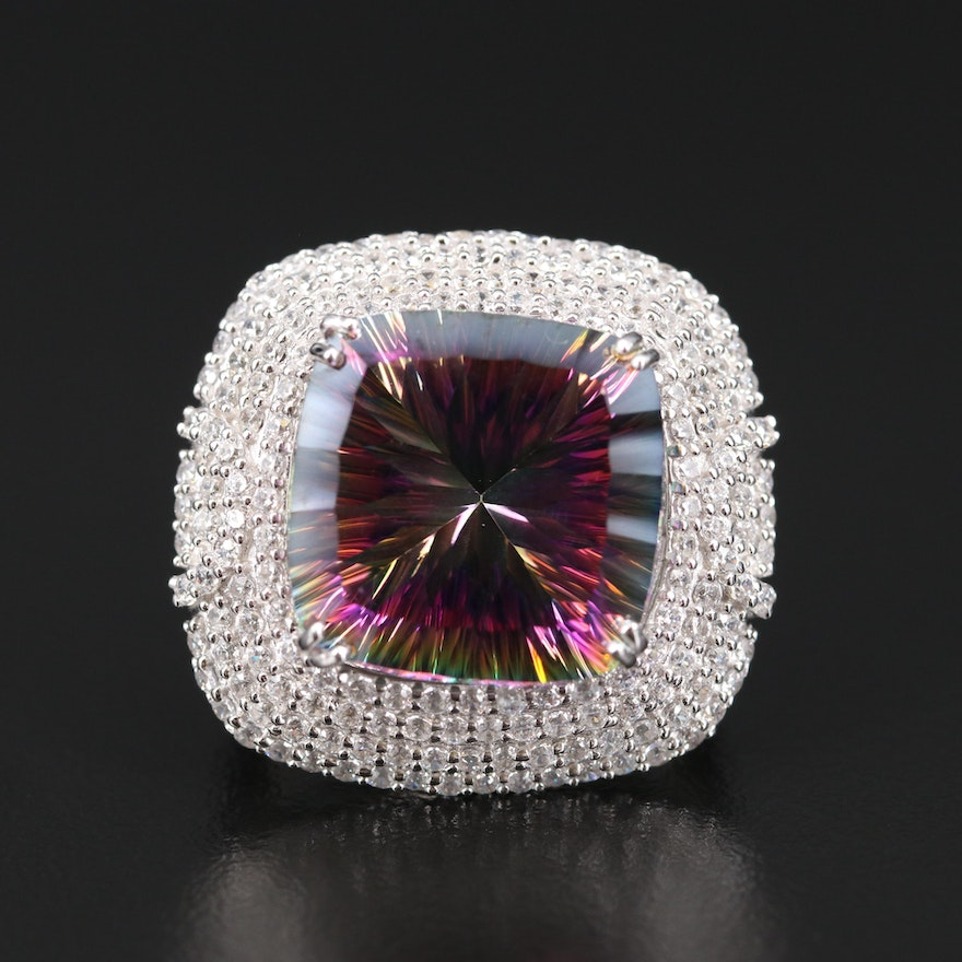 Sterling Silver Mystic Topaz and Cubic Zirconia Ring
