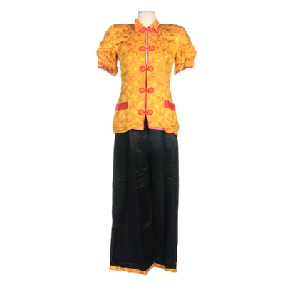 Chinese Brocade Shirt and Pant Set with Floral Medallion Pattern