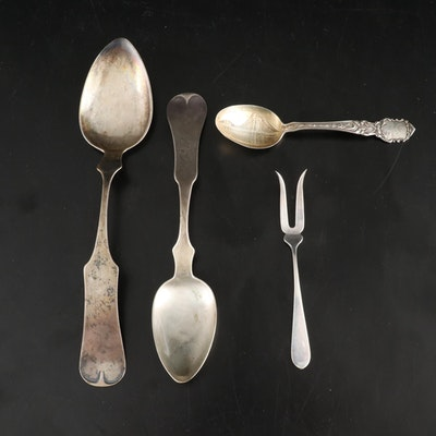 A.C. Hallack Pairs, Ky Coin and Other Sterling Spoons and Stieff Lemon Fork