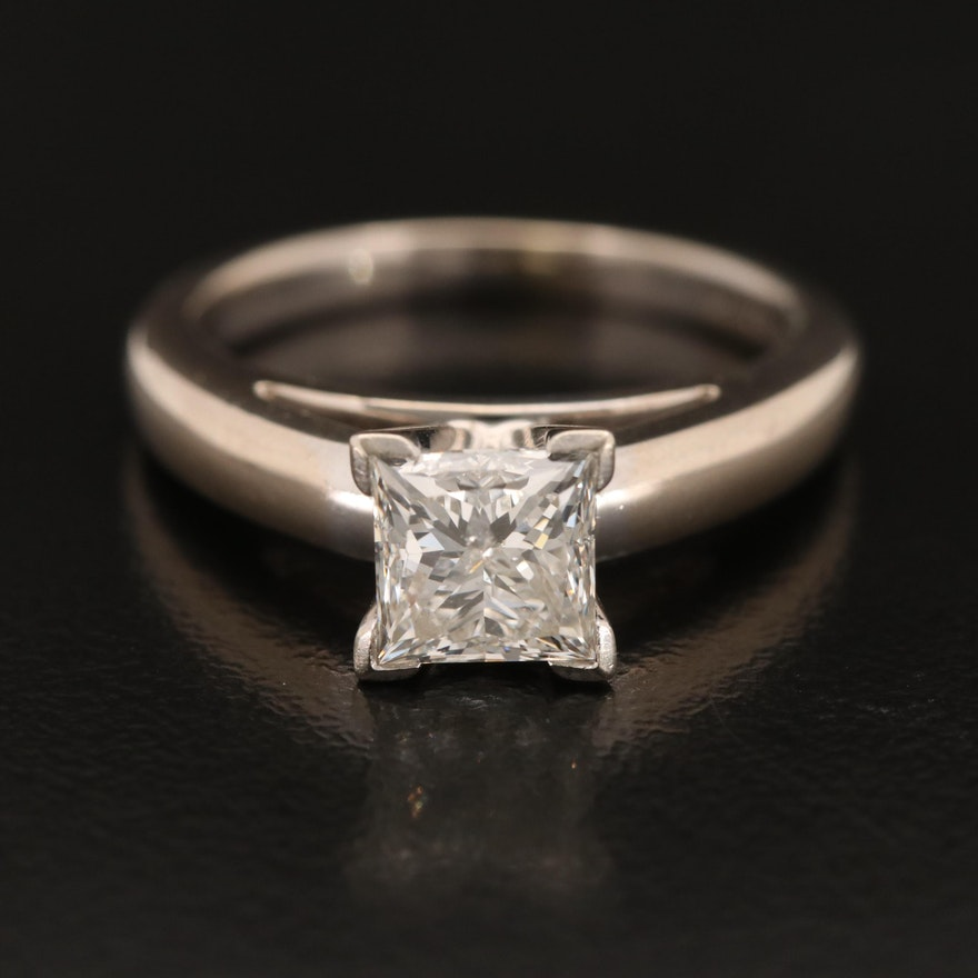 14K 1.28 CT Princess Cut Diamond Solitaire Ring