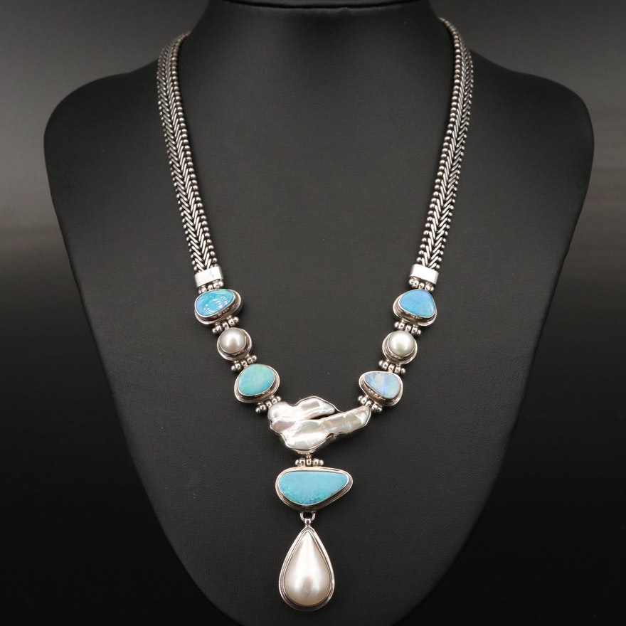 Sterling Pearl and Opal on Riccio Chain Necklace