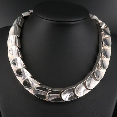 Vintage Mexican Sterling Silver Geometric Link Necklace