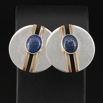 Sterling Silver Lapis Lazuli Disk Earrings