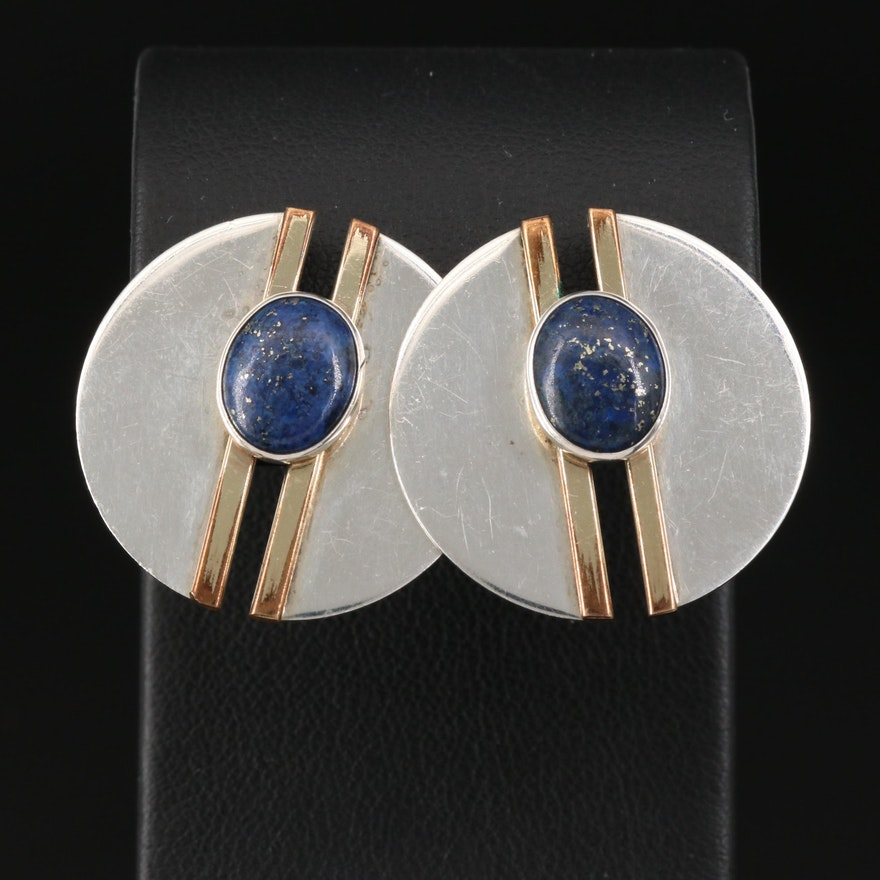 Sterling Silver Lapis Lazuli Disk Earrings