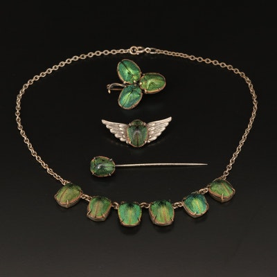 Victorian Egyptian Revival Scarab Brooch, Pin and Necklace with Winged Brooch
