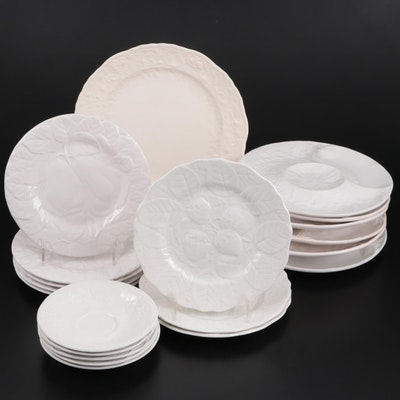 Bordallo Pinheiro White Embossed Salad Plates with Other Ceramic Dinnerware