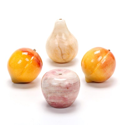 Italian Hand Carved Alabaster Stone Fruit, Mid to Late 20th Century