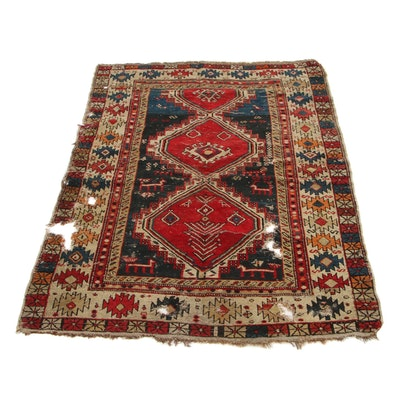 3'3 x 4'7 Hand-Knotted Caucasian Kazak Accent Rug, 1900s