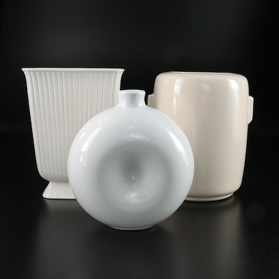 McCoy, Wedgwood and Portuguese White Ceramic Vases, Late 20th to 21st Century