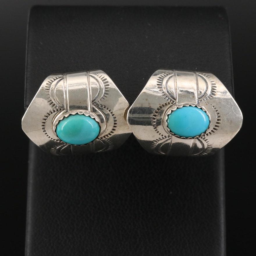 Southwestern Style Sterling Silver Turquoise Half Hoop Earrings