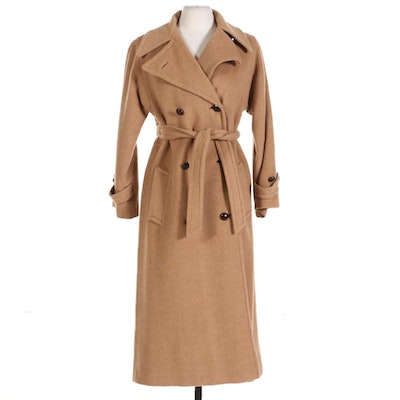 Double Breasted Camel Hair Coat with Belt and Leather Buttons