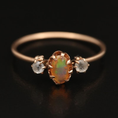 Vintage 10K Opal and Glass Three Stone Ring