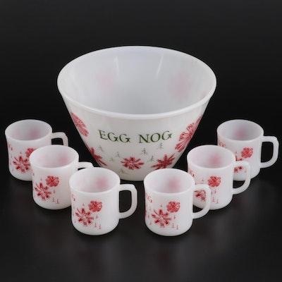 Anchor Hocking Fire-King Milk Glass Egg Nog Set