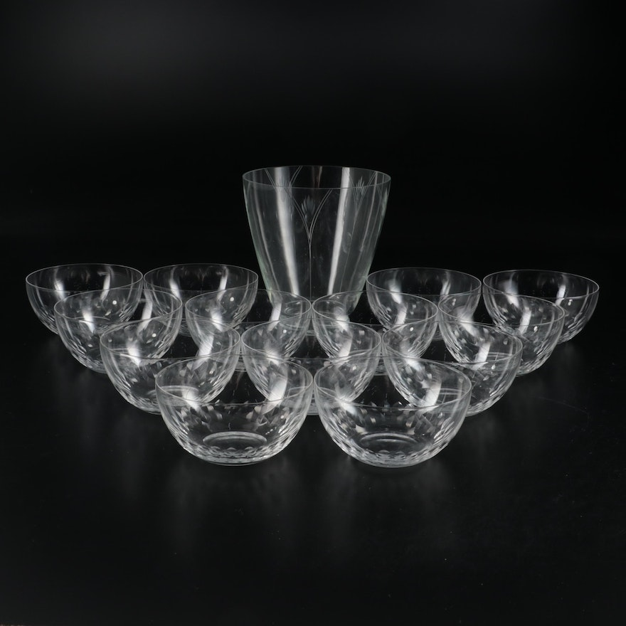Etched Glass Vase and Bowls, Mid to Late 20th Century