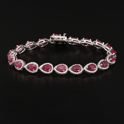 Platinum 10.50 CTW Ruby and 1.48 CTW Diamond Link Bracelet