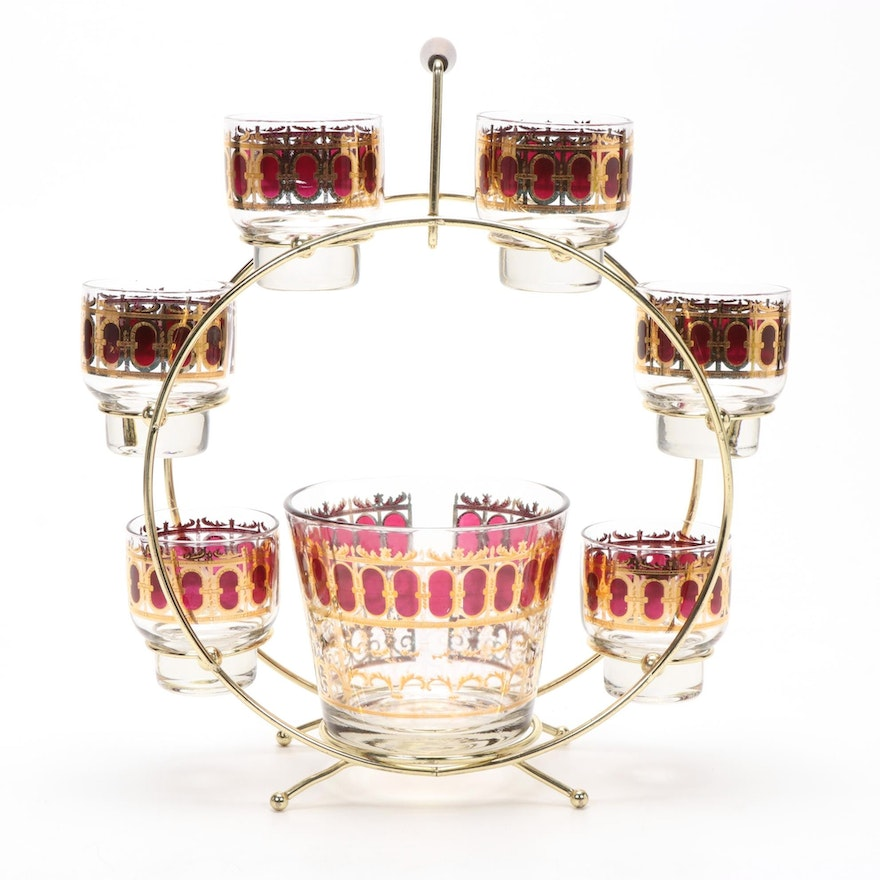 Culver Mid Century Modern 22K Cranberry Scroll Ferris Wheel Caddy Bar Set, 1960s