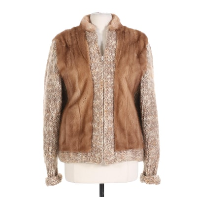Swan Furriers Mink and Knit Zipper Sweater Coat
