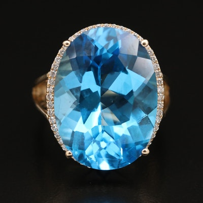 14K 20.00 CT Swiss Blue Topaz and Diamond Halo Ring