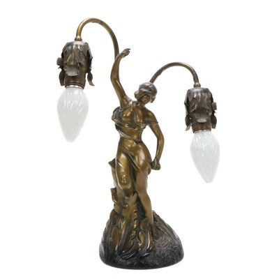 Art Nouveau Spelter Classical Female Figure Table Lamp, Early 20th Century