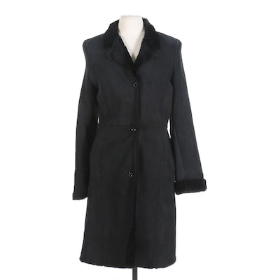 Black Shearling Button-Front Coat