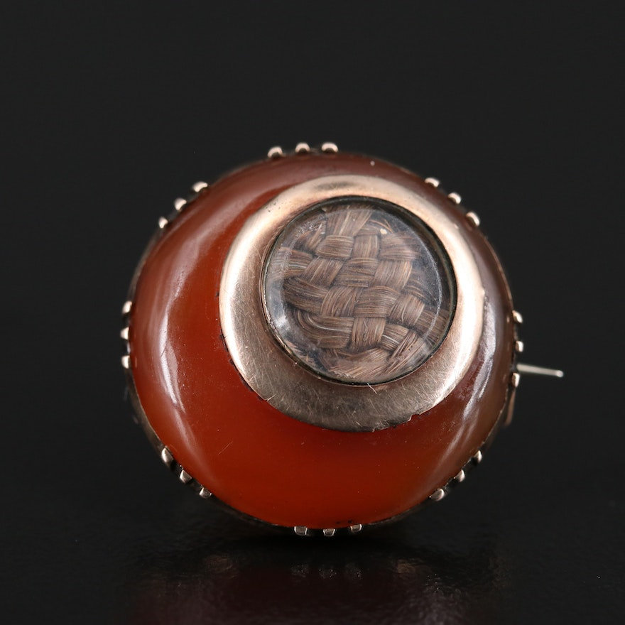 Victorian Carnelian Mourning Brooch with Woven Hair