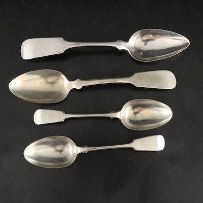 Hall and Elton Coin Silver with Other Sterling and Silver Plate Spoons
